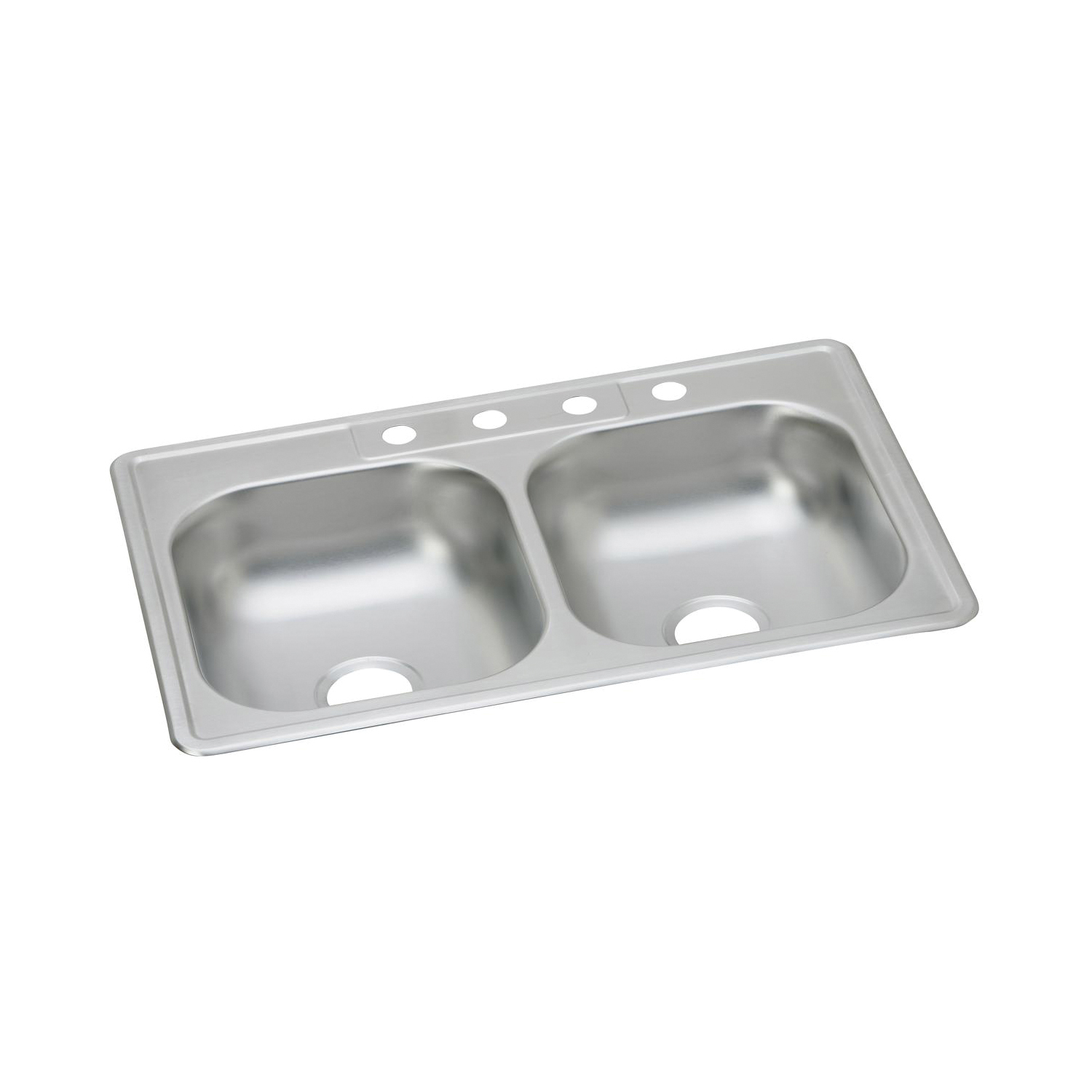 Elkay® K233224 Kitchen Sink, Dayton®, Rectangular, 14 in L x 15-3/4 in W x 5-7/8 in D Left Bowl, 14 in L x 15-3/4 in W x 5-7/8 in D Right Bowl, 4 Faucet Holes, 33 in L x 22 in W x 6-1/16 in H, Top Mount, Stainless Steel, Satin