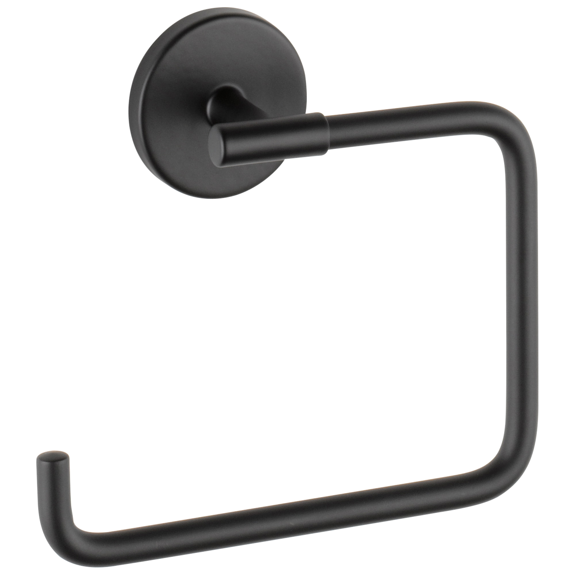 DELTA® 759460-BL Trinsic® Towel Ring, 6-13/32 in L Bar, 2 in OAD x 5-11/16 in OAH, Matte Black, Import