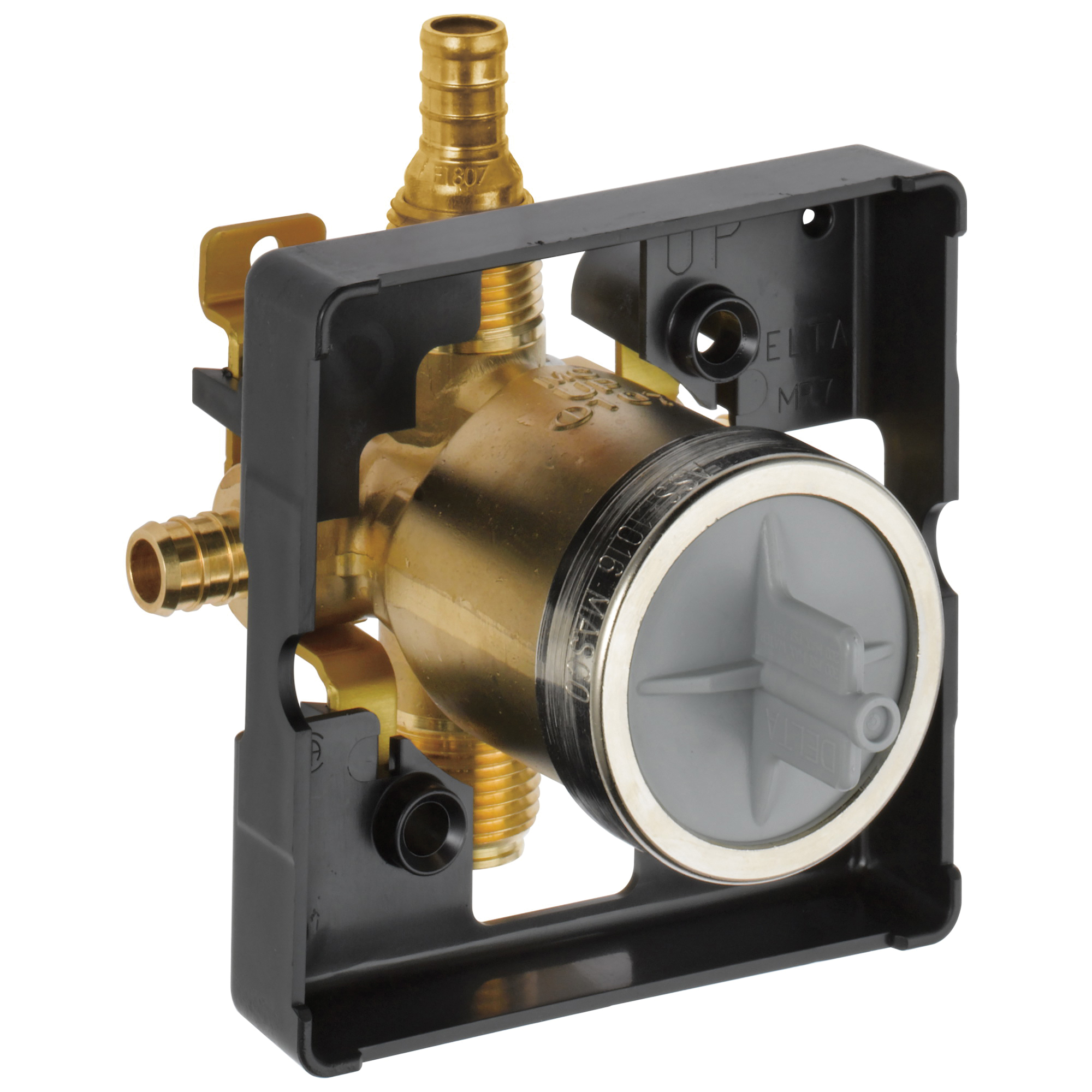 DELTA® R10000-PFS-PX MultiChoice® Universal Prefab Shower Rough-In Valve Body, 1/2 in PEX Crimp Inlet x 1/2 in PEX Crimp Outlet, Forged Brass Body, Domestic