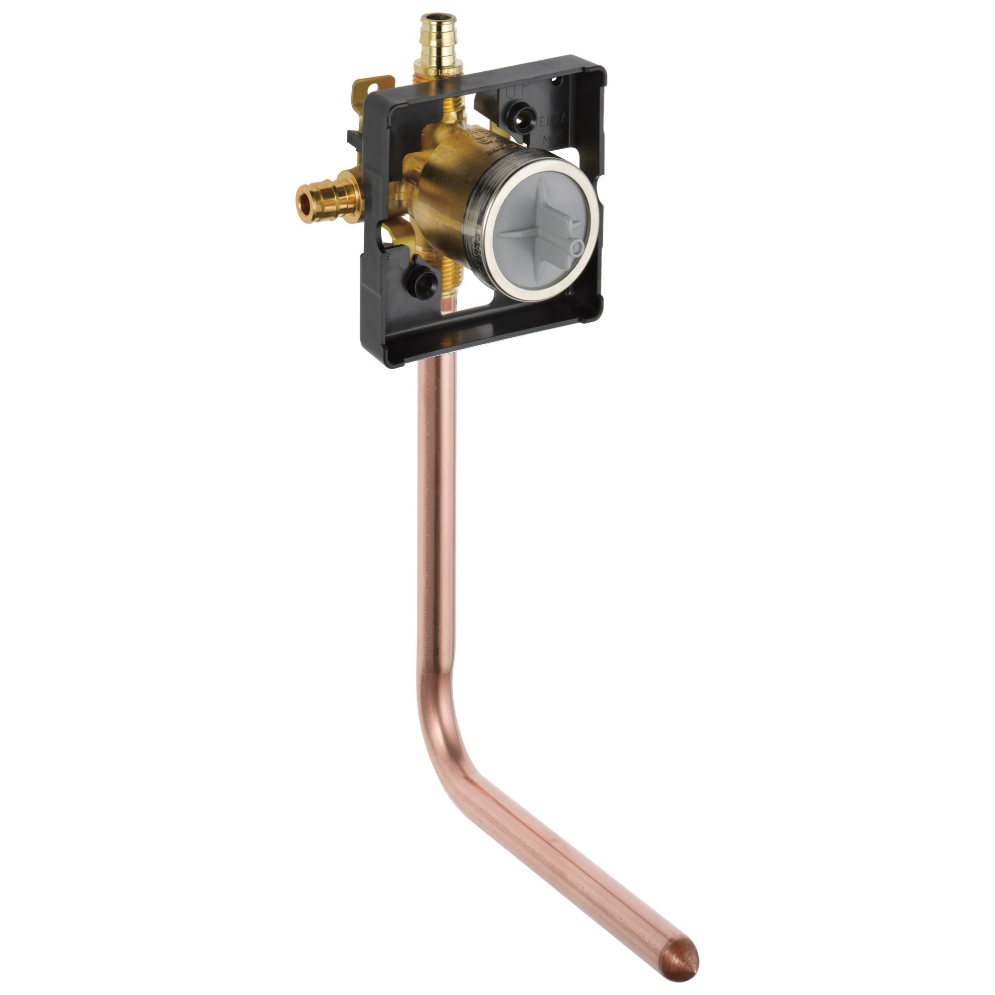 DELTA® R10000-PFT-MF MultiChoice® Universal Prefab Shower Rough-In Valve Body, 1/2 in Cold Expansion PEX Inlet x 1/2 in Pex Cold Expansion Outlet, Forged Brass Body, Domestic