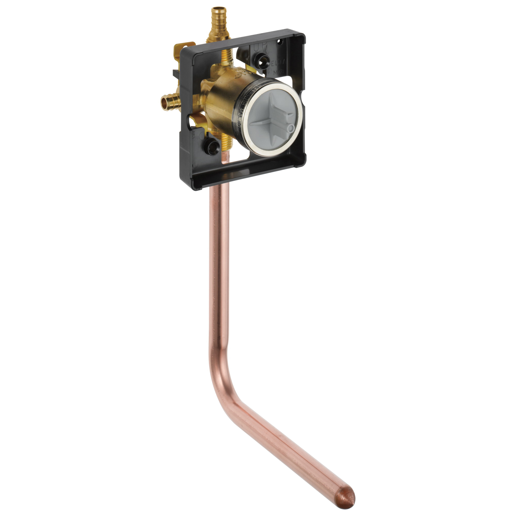 DELTA® R10000-PFT-PX MultiChoice® Universal Prefab Shower Rough-In Valve Body, 1/2 in PEX Crimp Inlet x 1/2 in PEX Crimp Outlet, Forged Brass Body, Domestic