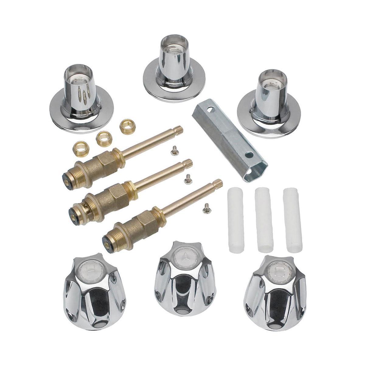 DANCO™ 39619 Tub/Shower 3-Handle Remodeling Kit, Brass, Polished Chrome