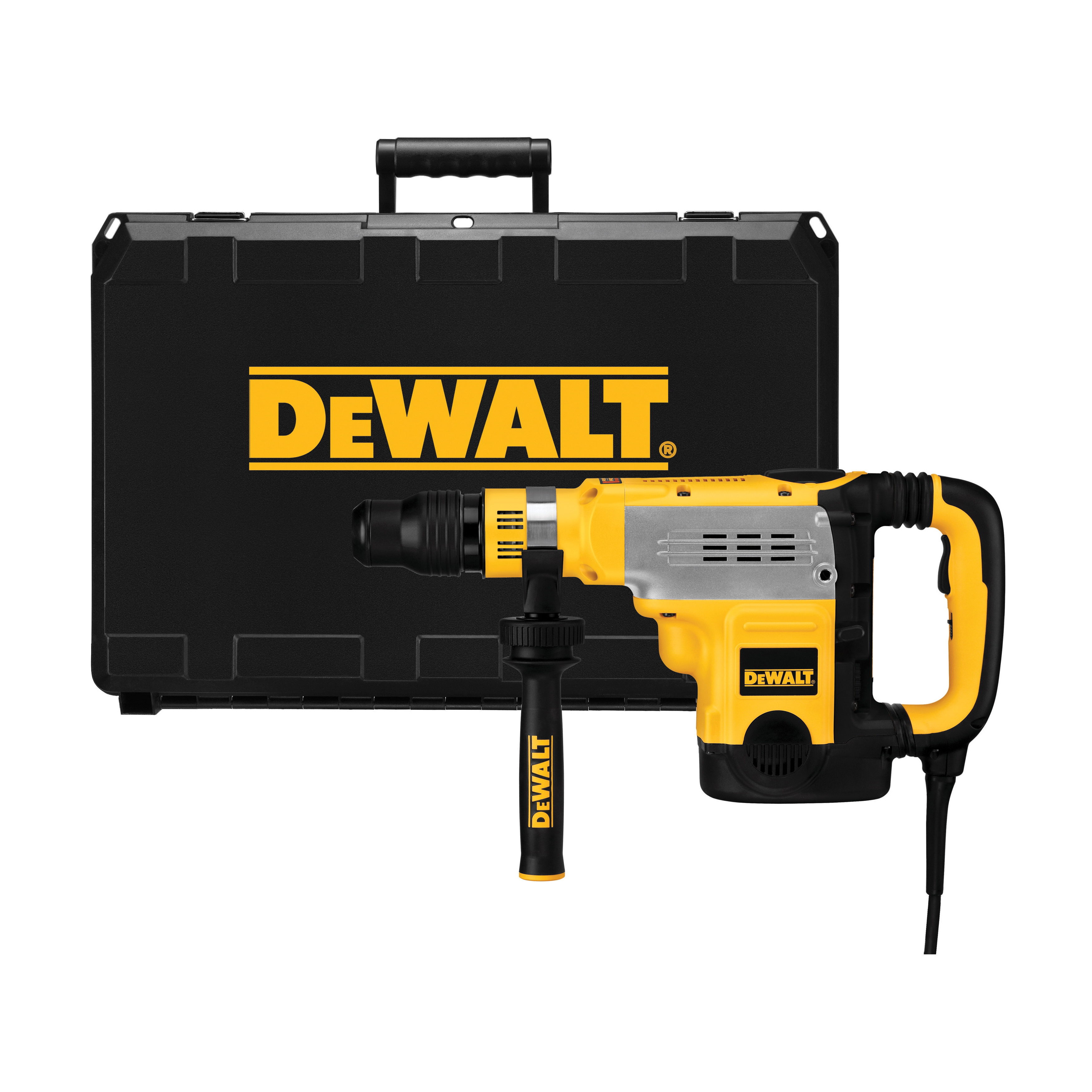 DeWALT® D25602K Electronic Rotary Hammer Kit, 1-3/4 in SDS Max® Chuck, 1430 to 2840 bpm, 210 to 415 rpm No-Load, 6 in Max Core Bit Compatibility, 1-7/8 in Max Solid Bit Capacity, 18.6 in OAL