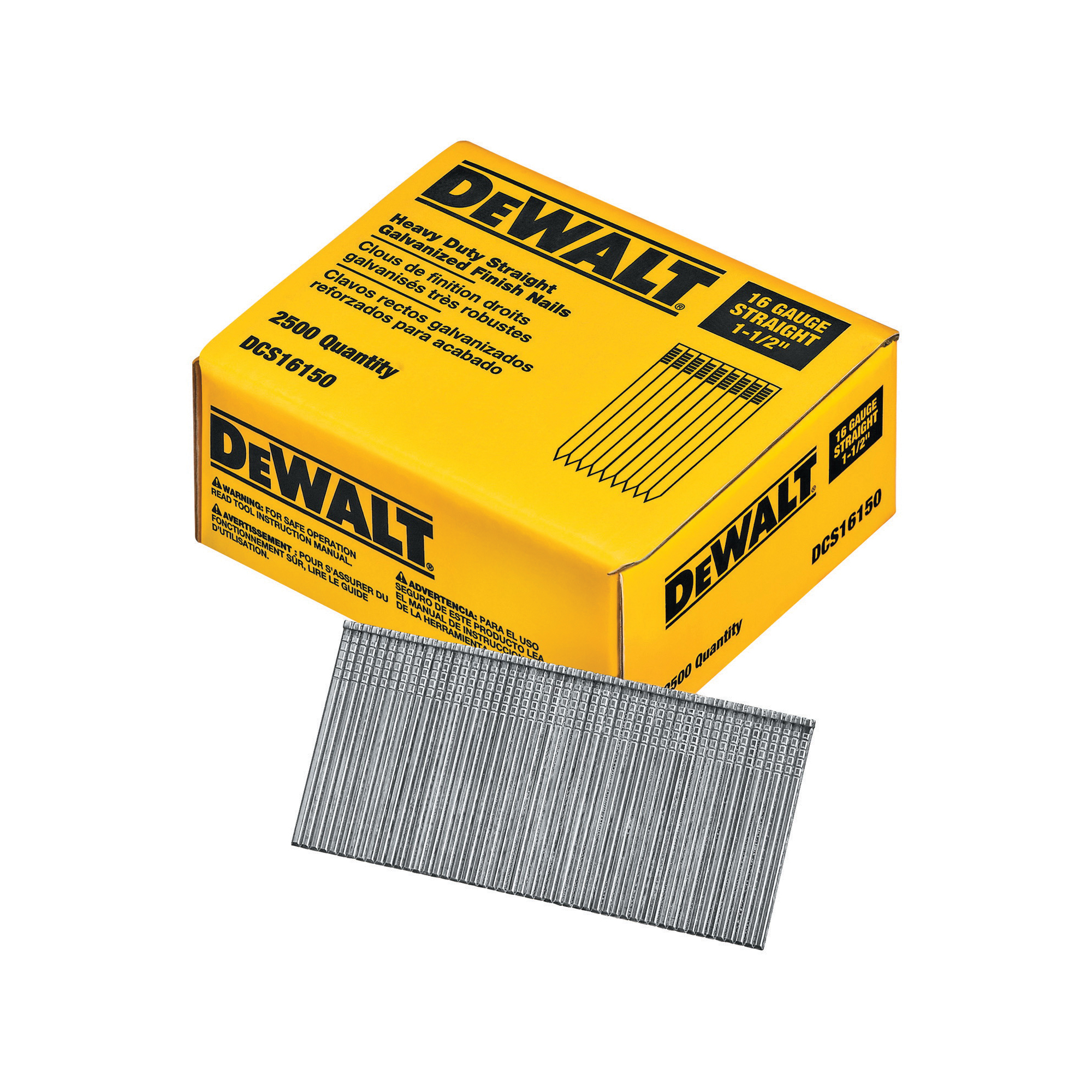 DeWALT® DCA16125 Adhesive Heavy Duty Angled Finish Nail, 1-1/4 in L, 16 ga, Bright/Galvanized, Steel
