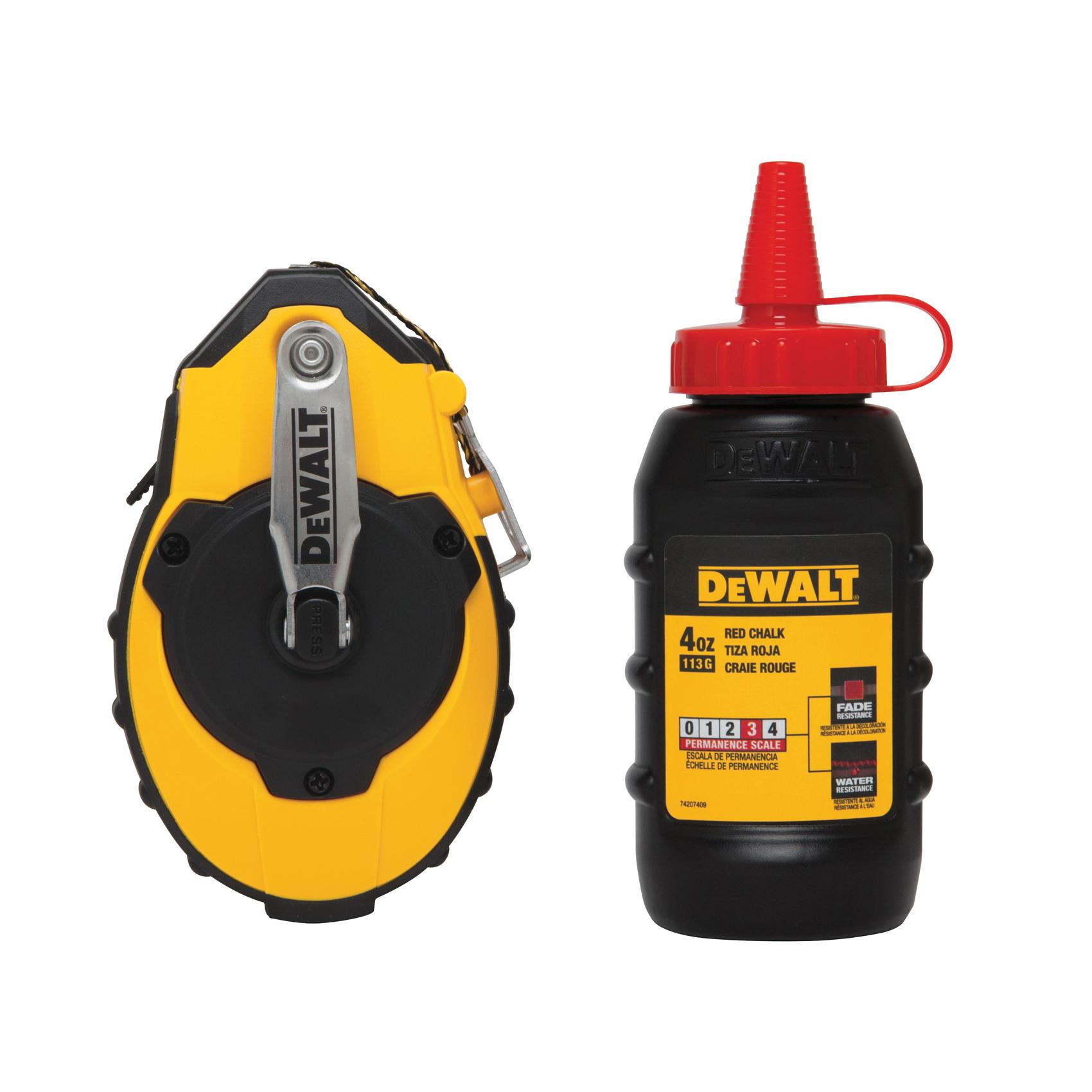 DeWALT® DWHT47142 Chalk Line Reel, 100 ft L Polymer Line, Sliding Side Door, Folding Crank Handle