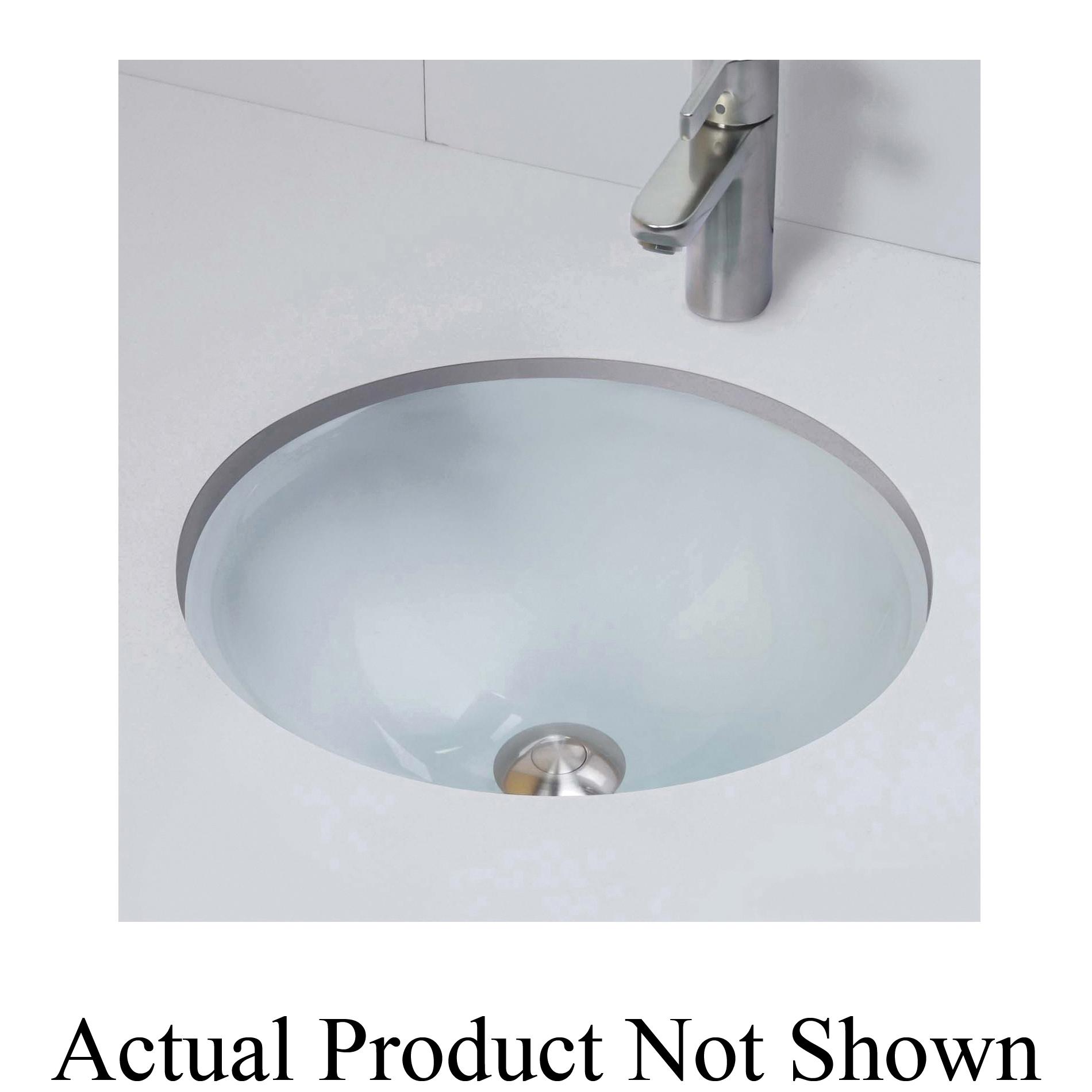 DECOLAV® 1000TU Translucence® Bathroom Sink, Round, 17.75 in W x 17.75 in D x 6.13 in H, Under Mount, Tempered Glass, Import