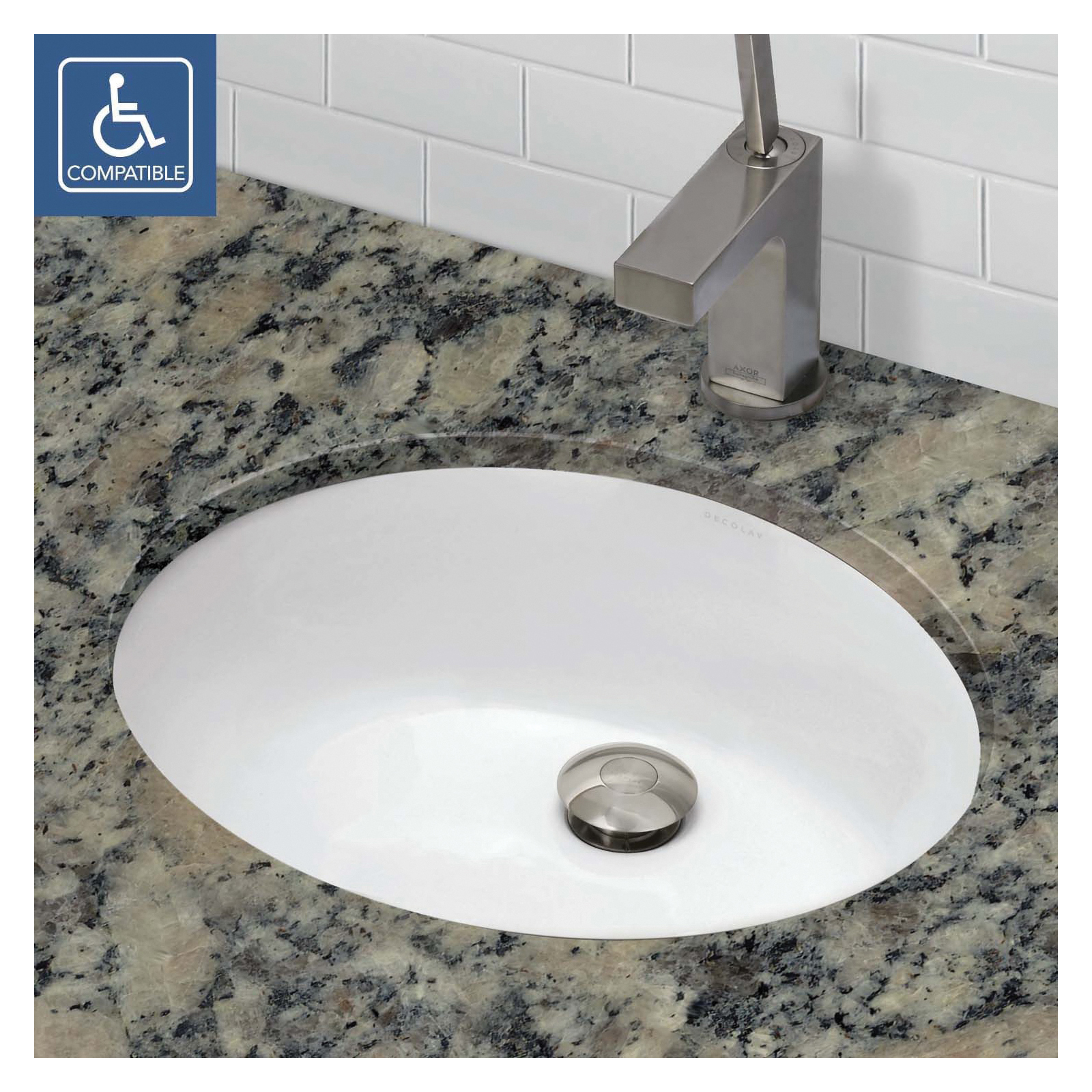 DECOLAV® 1401-CWH Classically Redefined® Bathroom Sink With Overflow, Oval, 19.25 in W x 16.25 in D x 7.13 in H, Under Mount, Vitreous China, Ceramic White, Import