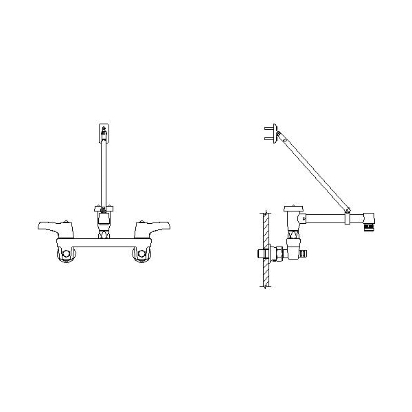 DELTA® 28C2383 Service Sink Faucet With Integral Check Stop, Wall Mount, 2 Handles, 8 in Center, 5.5 gpm Flow Rate, Polished Chrome