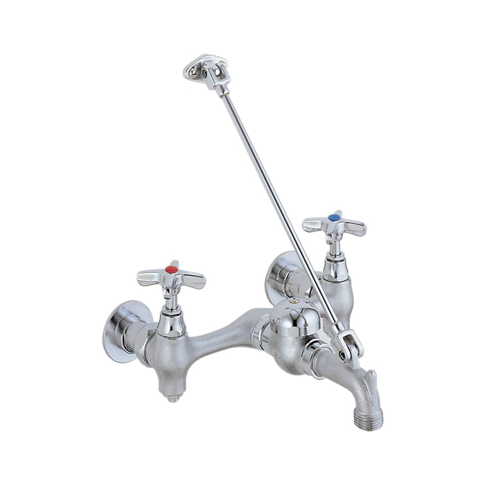 DELTA® 28T9 Service Sink Faucet, Wall Mount, 2 Handles, 8 in Center, 5.2 gpm Flow Rate, Rough Chrome