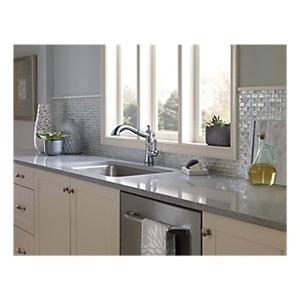 DELTA® 4197-AR-DST Cassidy™ Kitchen Faucet, Commercial, 1.8 gpm Flow Rate, 360 deg Swivel Spout, Arctic™ Stainless Steel, 1 Handles, 1/3 Faucet Holes, Domestic