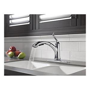 DELTA® 4353-DST Kitchen Faucet, Linden™, Commercial, 1.5 gpm Flow Rate, 120 deg Swivel Spout, Polished Chrome, 1 Handles, 1/3 Faucet Holes, Domestic