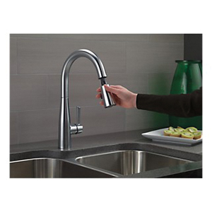 DELTA® 9113-AR-DST Essa® Kitchen Faucet, 1.8 gpm Flow Rate, Arctic™ Stainless Steel, 1 Handles, 1 Faucet Holes, Function: Traditional, Domestic, Commercial