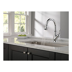 DELTA® 9178-DST Leland® Kitchen Faucet, 1.8 gpm Flow Rate, Polished Chrome, 1 Handles, 1/3 Faucet Holes, Function: Traditional, Domestic, Commercial