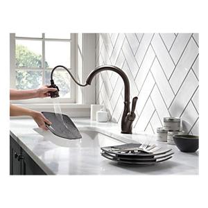 DELTA® 9178-RB-DST Kitchen Faucet, Leland®, 1.8 gpm, Venetian Bronze, 1 Handles, 1/3 Faucet Holes, Function: Traditional, Domestic, Commercial