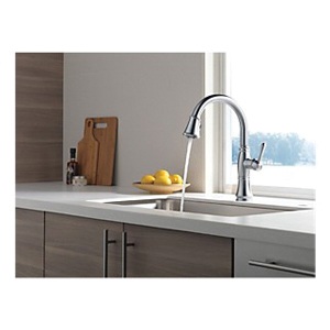 DELTA® 9197-AR-DST Cassidy™ Kitchen Faucet, 1.8 gpm Flow Rate, Arctic™ Stainless Steel, 1 Handles, 1/3 Faucet Holes, Function: Traditional, Domestic, Commercial