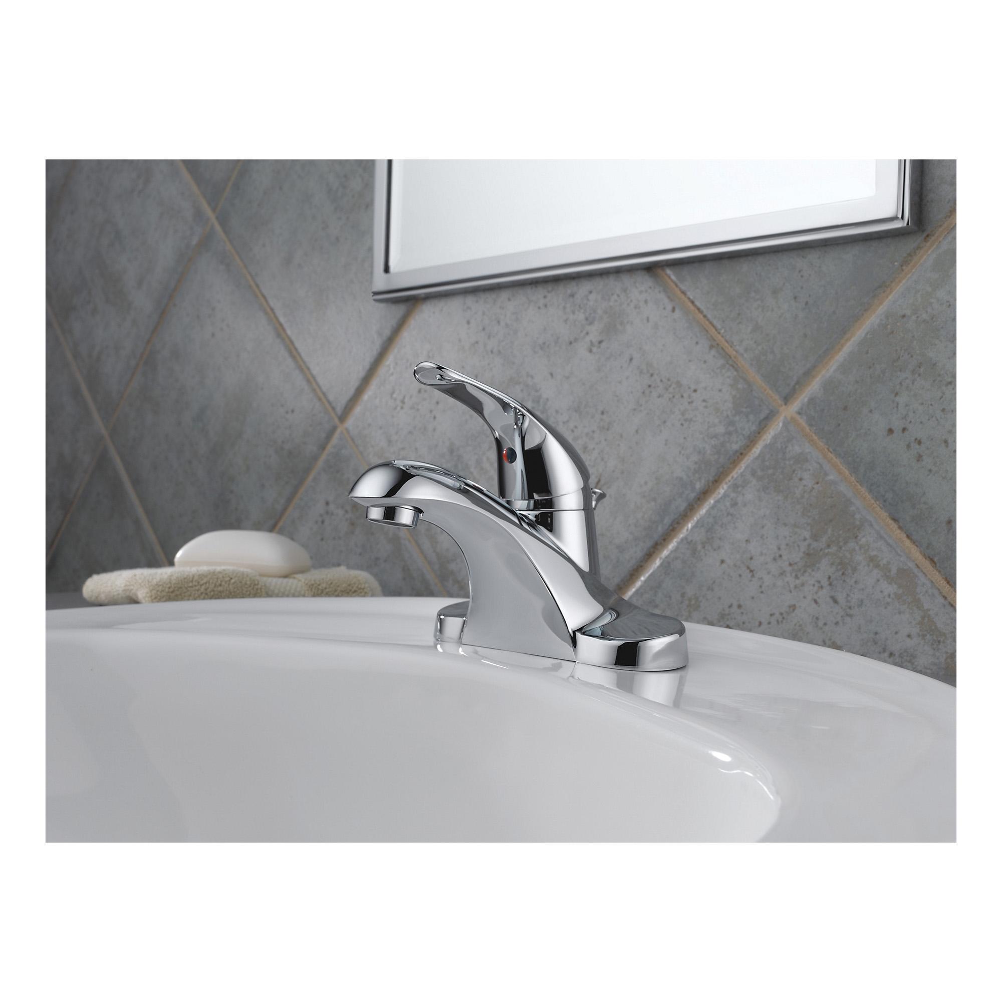 DELTA® B510LF Foundations® Centerset Lavatory Faucet, Polished Chrome, 1 Handles, Pop-Up Drain, 1.5 gpm Flow Rate