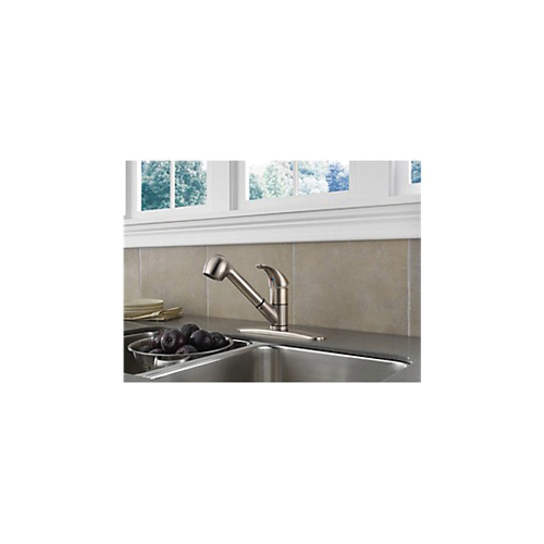 Peerless® P18550LF-SS Kitchen Faucet, Commercial, 1.8 gpm Flow Rate, Pull-Out Spout, Stainless Steel, 1 Handles, 1/3 Faucet Holes, Import