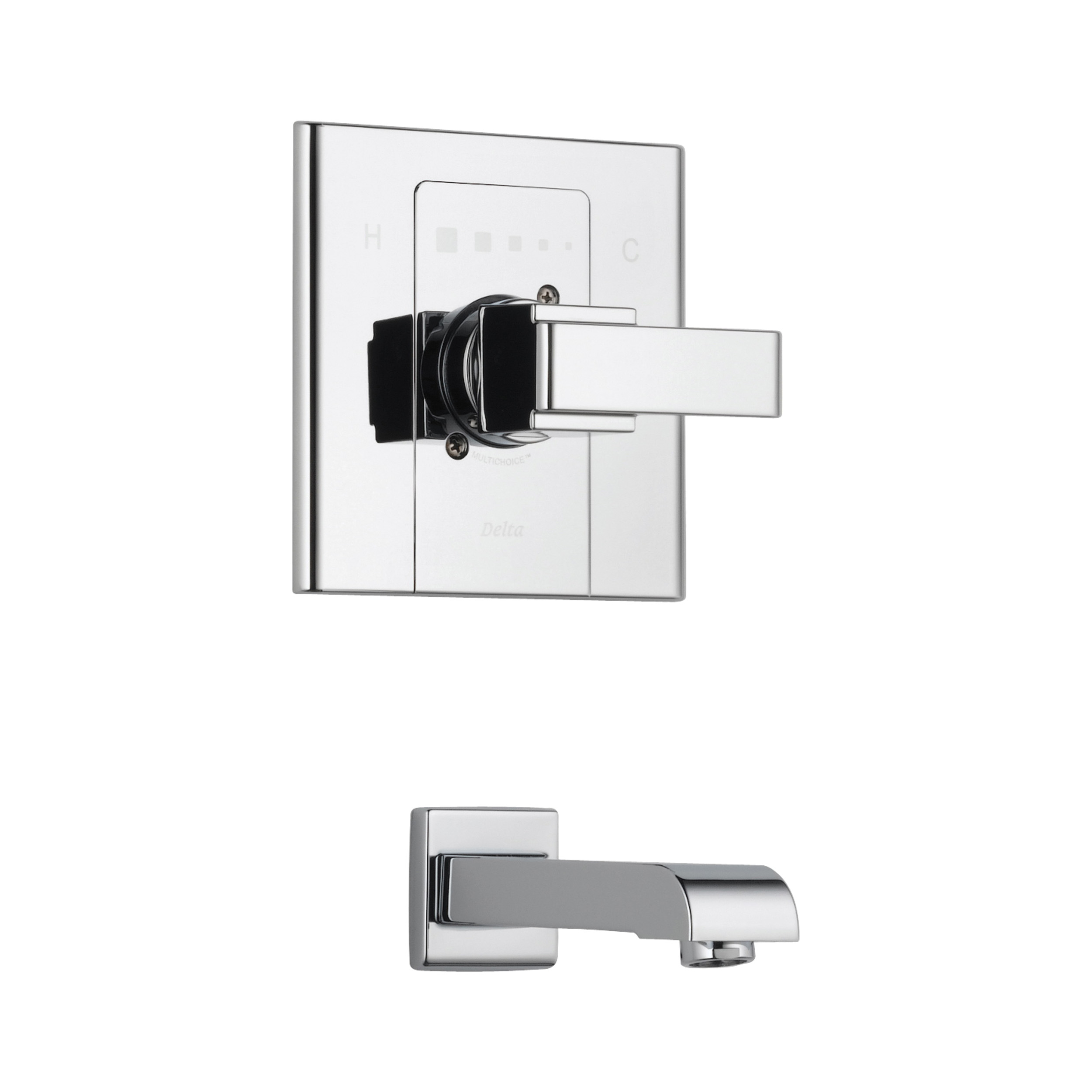 DELTA® T14186 Monitor® 14 1-Function Wall Mount Tub Trim, Arzo®, 6 gpm Flow Rate, Polished Chrome, 1 Handles, Domestic, Commercial