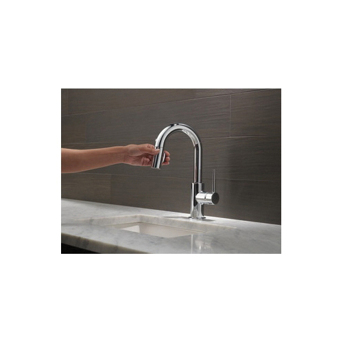 DELTA® 9959-DST Pull-Down Bar/Prep Faucet, Trinsic®, Polished Chrome, 1 Handle, 8 in Center, 1.8 gpm
