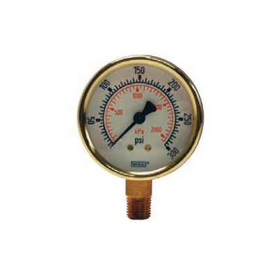 Dixon® GL335 Standard Dry Gauge, 0 to 160 psi, 1/4 in Connection, 2-1/2 in Dial, +/- 3-2-3 %