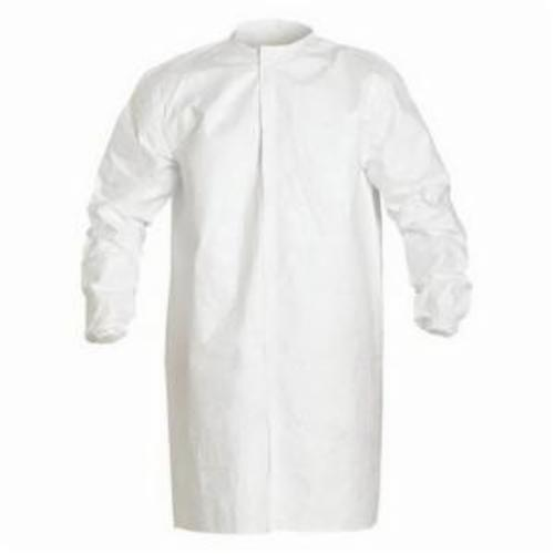 DuPont™ SafeSPEC™ IC264SWH2X00300B Disposable Frock, 2XL, White, Tyvek® IsoClean®, 53 in L, Zipper Front Closure, ASTM D3776, ASTM D774, ASTM D5034, ASTM D257, ASTM F2101, 16 CFR 1610 Class 1, AATCC 127