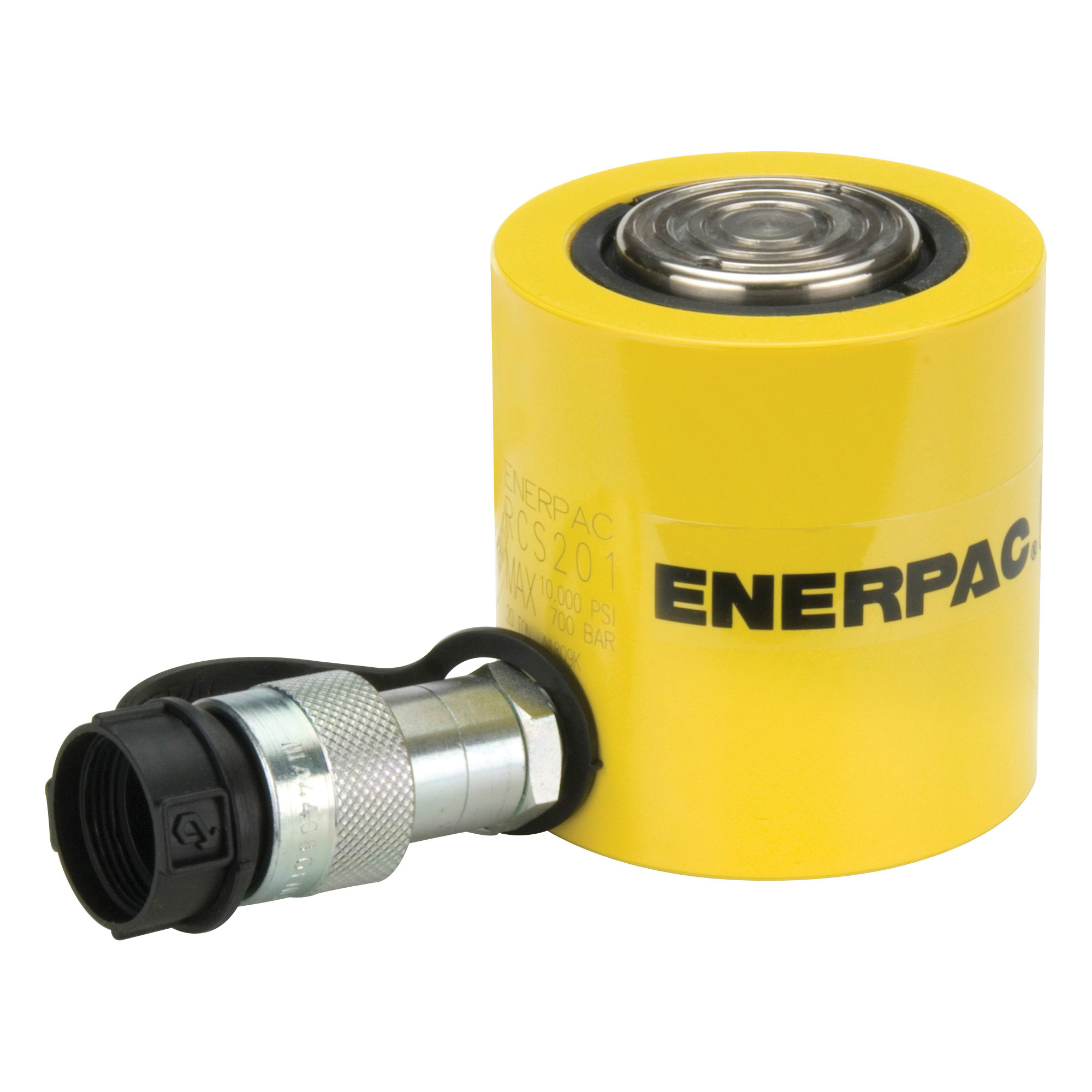 Enerpac® Flat-Jac® RCS-101 Low Height Single Acting Spring Return Hydraulic Cylinder, 10 ton Capacity, 1.69 in Dia Bore, 1-1/2 in L Stroke, 3.47 in H Retract, 1-1/2 in Dia Rod, 10000 psi