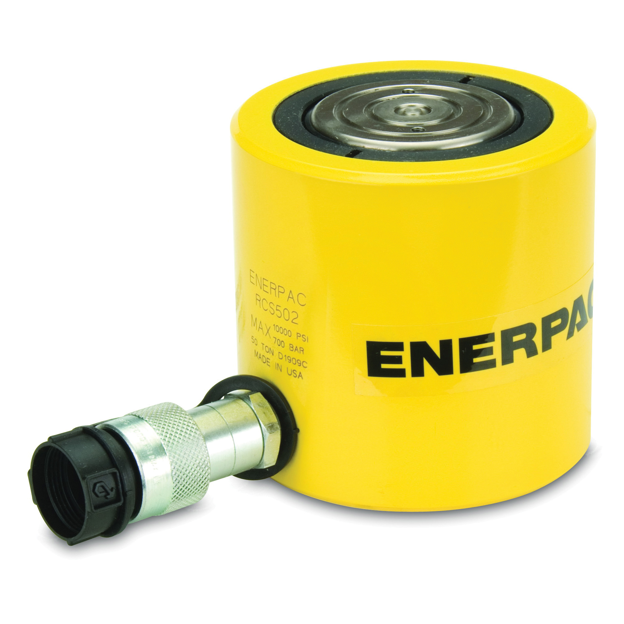 Enerpac® Flat-Jac® RCS-201 Low Height Single Acting Spring Return Hydraulic Cylinder, 20 ton Capacity, 2.38 in Dia Bore, 1-3/4 in L Stroke, 3.88 in H Retract, 2 in Dia Rod, 10000 psi
