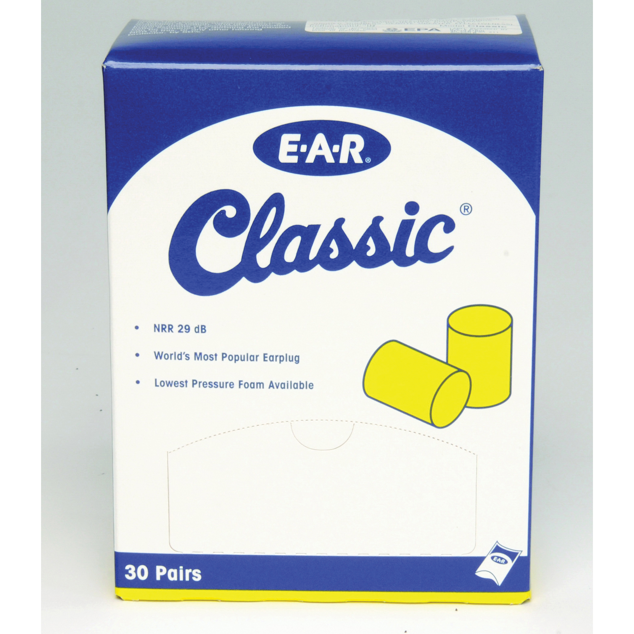 E-A-R™ 080529-10063 Classic™ SuperFit™ Earplugs, 30 dB Noise Reduction, Cylindrical Shape, CSA Class AL, Disposable, Uncorded Design