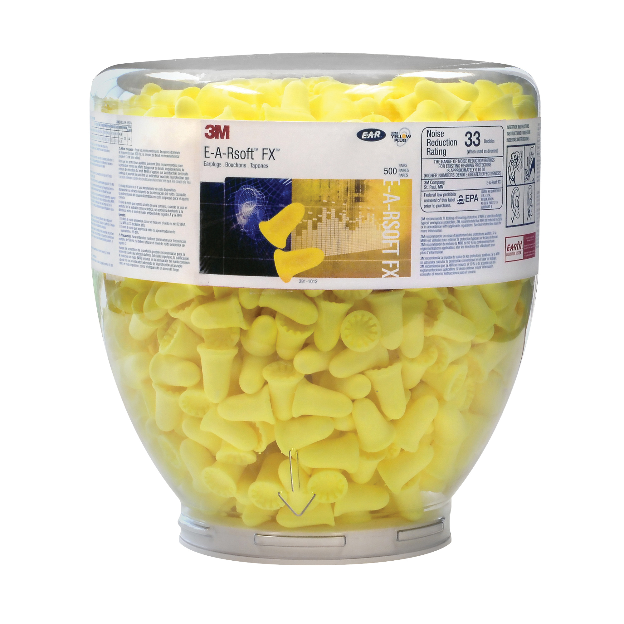 E-A-Rsoft™ 078371-66639 Yellow Neons™ Metal Detectable Earplugs, 33 dB Noise Reduction, Tapered Shape, ANSI S3.19, CSA Class AL, Reusable, Uncorded Design