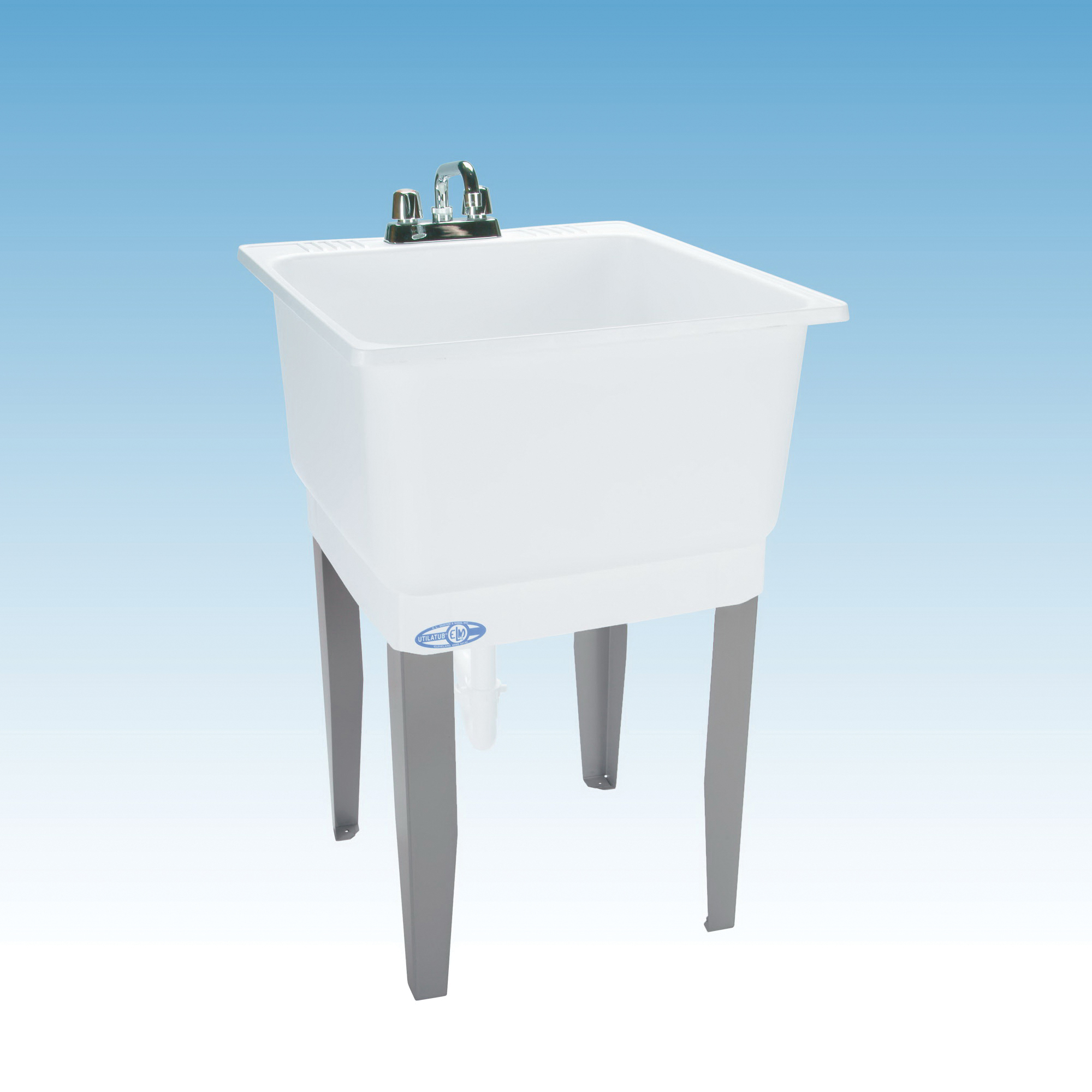 ELM® 14 UTILATUB® Economy Laundry/Utility Tub, 23 in W x 25 in D x 33 in H, Floor Mount, Co-Polypure™ Resin, White, Domestic