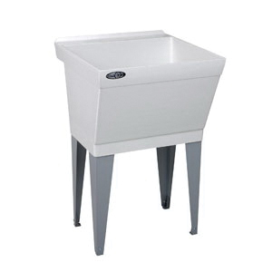 ELM® 17FK UTILATUB® Premier Laundry/Utility Tub, 23 in W x 23-1/2 in D x 34 in H, Floor Mount, Natural Crushed Stone/Polyester Resin Blend, White, Domestic