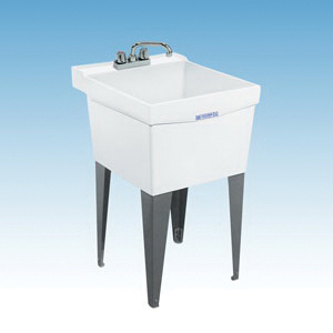 ELM® 18FK UTILATUB® Premier Laundry/Utility Tub, 20 in W x 24 in D x 34 in H, Floor Mount, Crushed Stone Blend/Fiberglass, White, Domestic