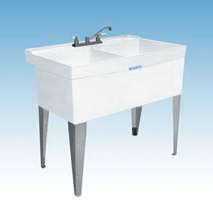 ELM® 26F UTILATWIN® Laundry Sink, Rectangular, 40 in W x 24 in D x 34 in H, Floor Mount, Durastone®, White