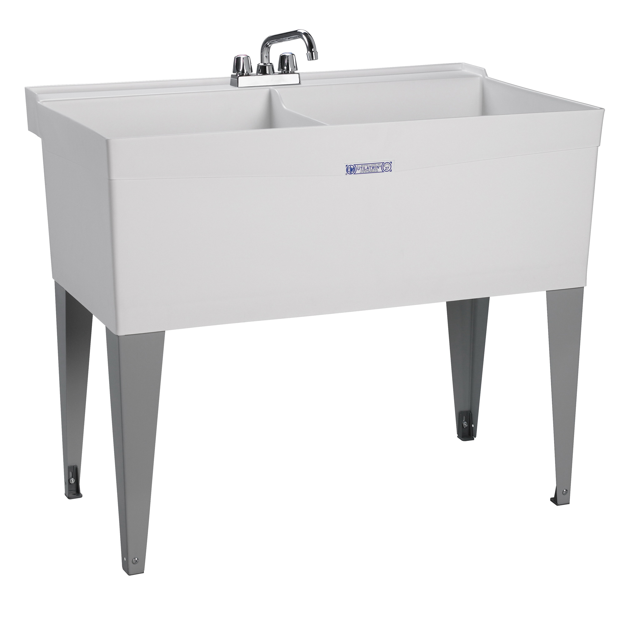 ELM® 27F UTILATWIN® Premier Laundry/Utility Tub, 40 in W x 24 in D x 34 in H, Floor Mount, Thermoplastic, White, Domestic