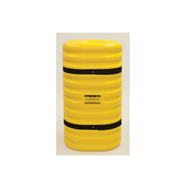 Eagle Manufacturing 1704 Narrow Column Protector With Black Straps, Fits Column Shape Round/Square, 42 in H, HDPE, Yellow