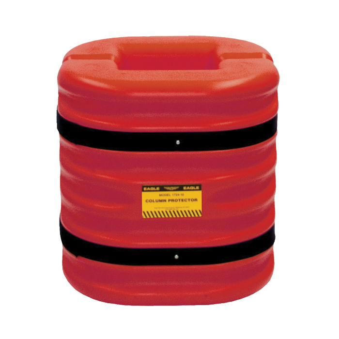 Eagle Manufacturing 1712 Column Protector With Black Straps, Fits Column Size 12 in, Fits Column Shape Round/Square, 42 in H, HDPE, Yellow