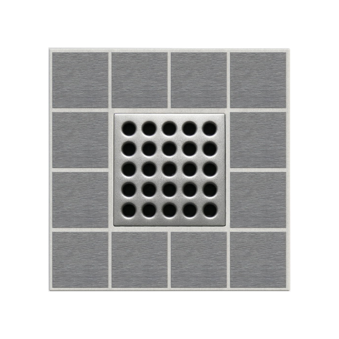 Ebbe America E4410 Shower Drain Grate, Square Pattern, 3.16 sq-in, 11 gpm, Stainless Steel/Polycarbonate