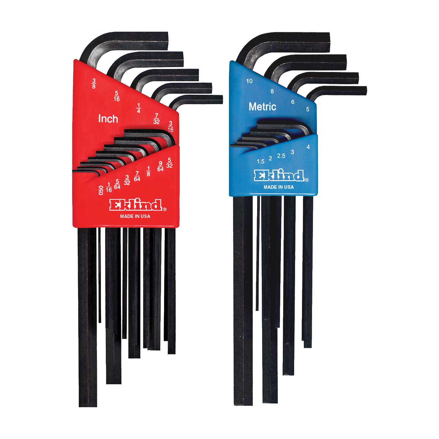 Eklind® 10213 Hex-L® Long Key Set, 13 Pieces, 0.05 to 0.375 in Hex, L-Handle Handle, ANSI B18.3, Alloy Steel, Black Oxide