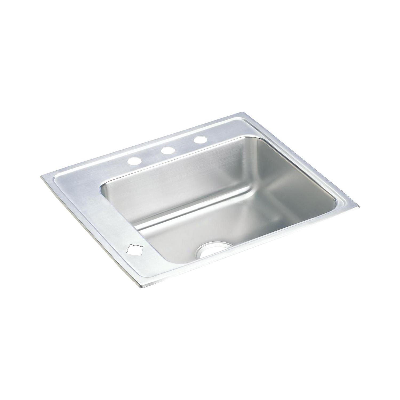 Elkay® DRKR2220L4 Lustertone Classroom Sink, Rectangular, 19-1/2 in W x 7-1/2 in D x 22 in H, Top Mount, Stainless Steel, Lustertone, Domestic