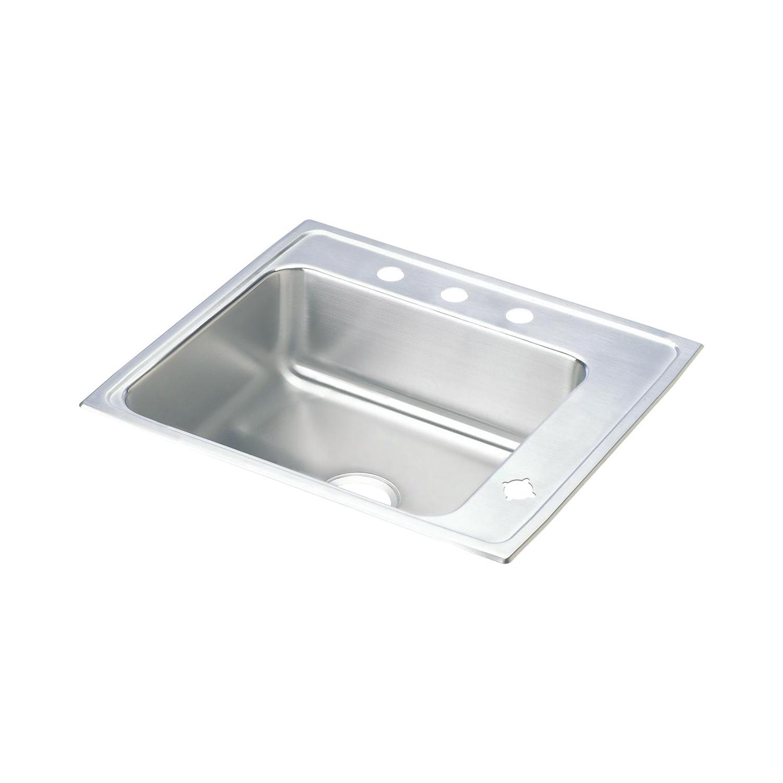 Elkay® DRKR2220R4 Lustertone Classroom Sink, Rectangular, 19-1/2 in W x 7-1/2 in D x 22 in H, Top Mount, Stainless Steel, Lustertone, Domestic