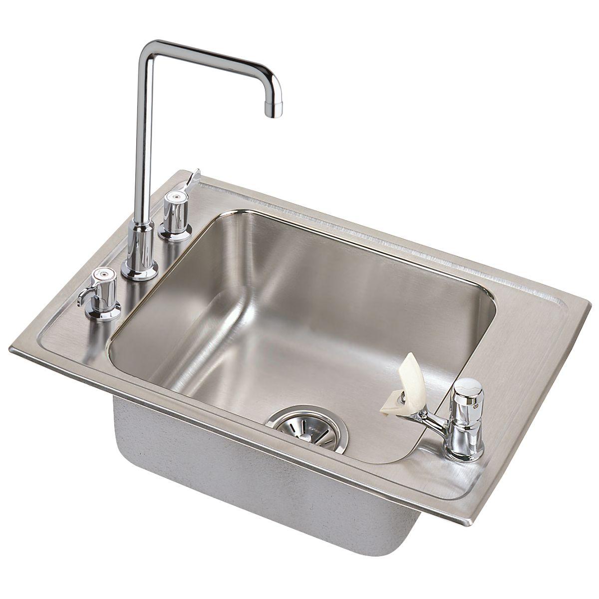 Elkay® DRKRC2517C Classroom Sink and Faucet/Bubbler Kit, Rectangular, 17 in W x 7-5/8 in H, Top Mount, 304 Stainless Steel, Lustertone