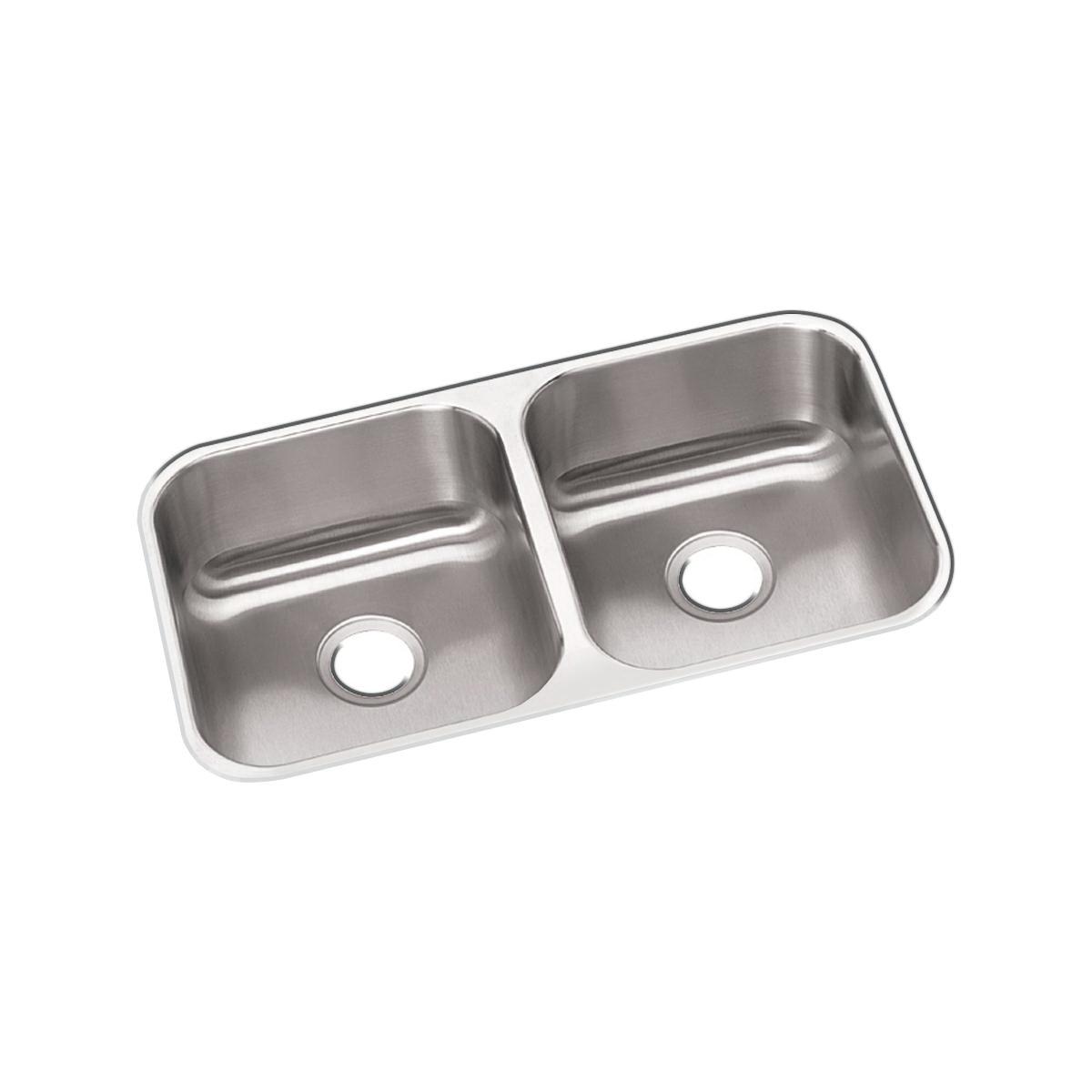 Elkay® DXUH3118 Kitchen Sink, Dayton®, Rectangular, 14 in L x 15-3/4 in W x 8 in D Left Bowl, 14 in L x 15-3/4 in W x 8 in D Right Bowl, 31-3/4 in L x 18-1/4 in W x 8 in H, Under Mount, 18 ga 304 Stainless Steel, Radiant Satin