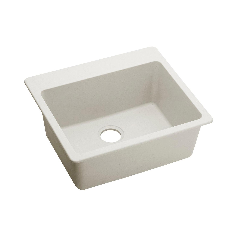 Elkay® ELX2522RT0 Traditional Kitchen Sink, Luxe, Rectangular, 22-1/4 in L x 16-3/8 in W x 9-1/2 in D Bowl, 25 in L x 22 in W x 9-1/2 in H, Top Mount, Quartz, Ricotta