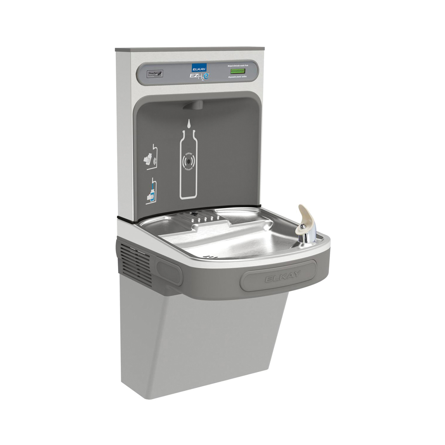 Elkay® EZS8WSLK Non-Filtered Bottle Filling Station and Cooler, 1.1 gpm, Sensor Operation, Refrigerated Chilling, Domestic