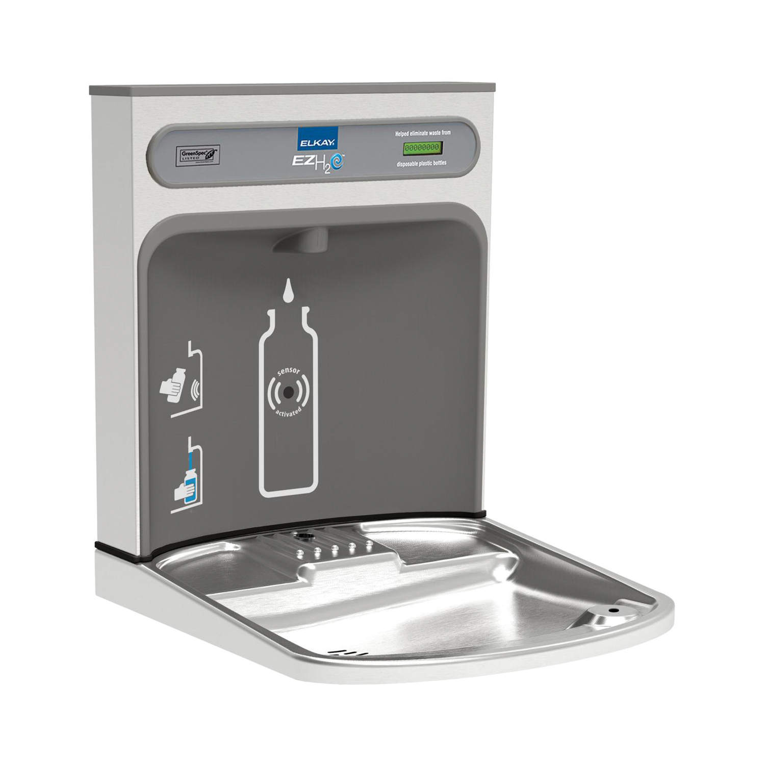 Elkay® EZWSRK EZH2O Non-Filtered Bottle Filling Station, 115 VAC, 18 W, 60 Hz, 1 Stations, Domestic