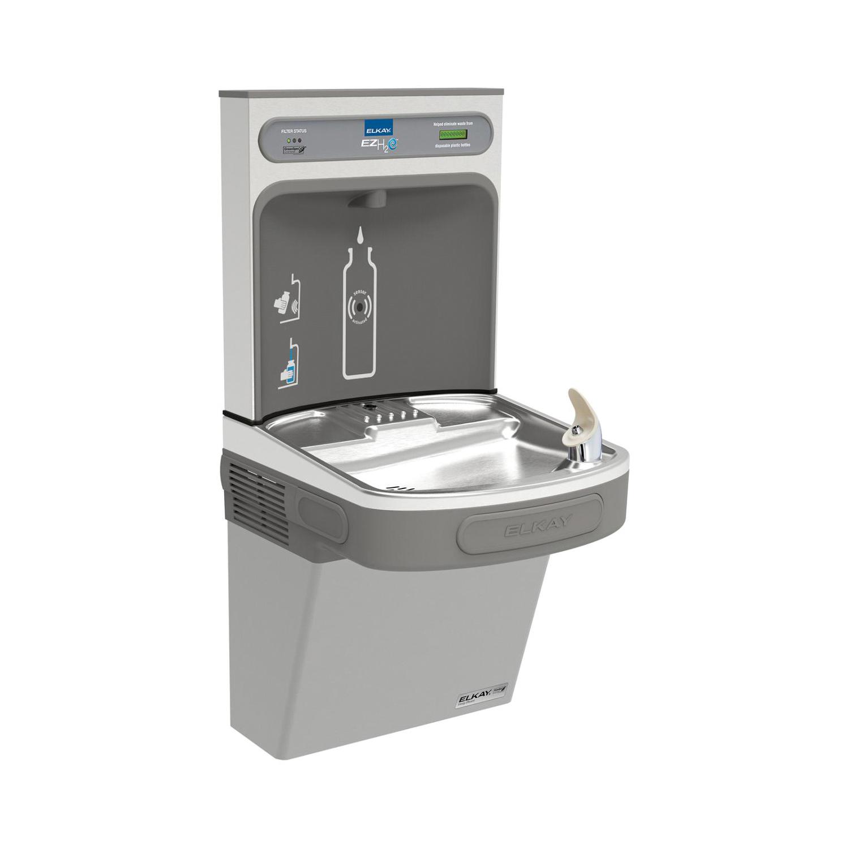 Elkay® LZSG8WSLK EZH2O® Filtered Bottle Filling Station and Cooler, 1.1 gpm, Push Bar/Sensor Operation, Refrigerated Chilling, 1 Station, Domestic
