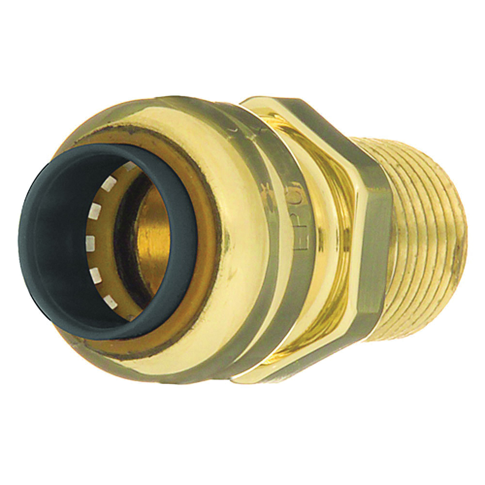 EPC TECTITE™ 10155470 204 Push Pipe Adapter, 3/4 in Nominal, C x Male End Style, Brass, Domestic