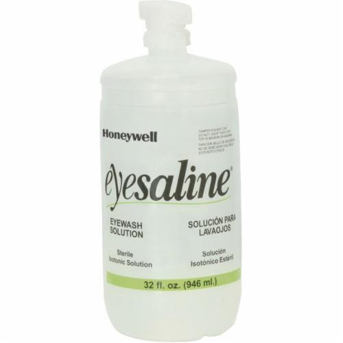 Honeywell Safety 32-000454-0000 Eyesaline® Portable Personal Eyewash Bottle With Extended Flow Nozzle, 16 oz Bottle, ANSI Z358.1, FDA Approved