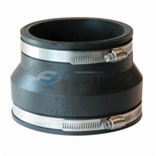 Fernco® 1002-44 Flexible Pipe Coupling, 4 in Nominal, Clay x PVC End Style, PVC, Domestic