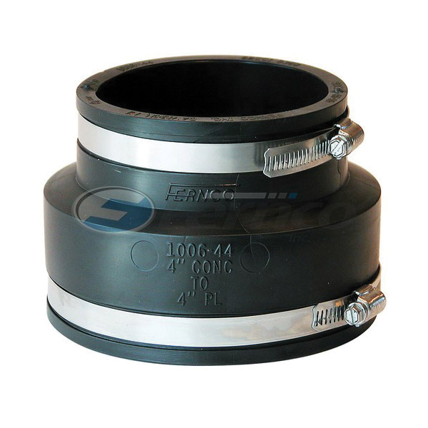 Fernco® 1006-44 Flexible Pipe Coupling, 4 in Nominal, Concrete x Plastic/Cast Iron End Style, PVC, Domestic